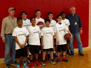 Raymond's 8th grade basketball team won first place in the winter league. Wow, did they turn it on in the playoffs!